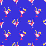 Cocktails summer seamless pattern on neon blue background Royalty Free Stock Photos