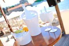 Cocktails on a table by the beach Royalty Free Stock Photo