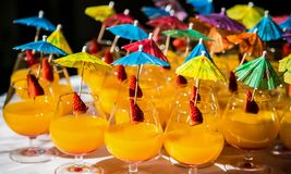 Cocktails with umbrellas at a spring festival corporate event. Brightly colored orange flavored cocktail drinks with strawberry garnish on a table Stock Image