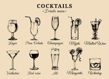 Cocktails und alkoholische Getränkegläser übergeben gezogene Illustrationen Vektor trinkt die eingestellten Skizzen, Champagner,  stock abbildung