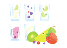 Cocktails und Smoothie mit frischen Früchten und Beeren Stockbild