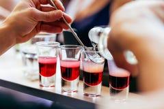 Cocktails van barman de gietende schoten Royalty-vrije Stock Afbeeldingen