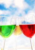 Cocktails of various colors ag Stock Image