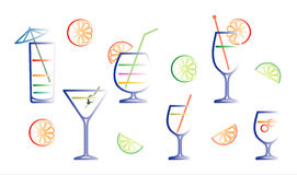 Cocktails vector illustration Royalty Free Stock Photo