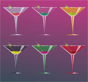Cocktails, vector illustration. Gradient background Royalty Free Stock Images