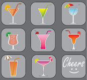 Cocktails vector set Stock Photography