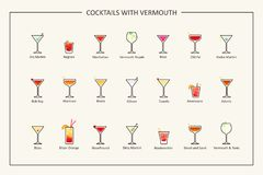 Cocktails with vermouth guide, colored icons. Horizontal orientation. Vector Royalty Free Stock Photos
