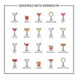 Cocktails with vermouth guide, colored icons on white background. Vector Royalty Free Stock Image