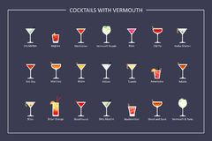 Cocktails with vermouth guide, flat icons on dark background. Horizontal orientation. Vector Royalty Free Stock Photography