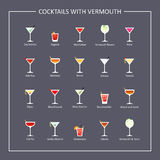Cocktails with vermouth guide, flat icons on dark background. Vector Royalty Free Stock Photo