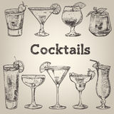 Cocktails vintage collection for restaurant design Stock Photography