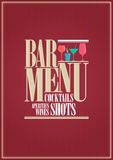 Cocktails and wine restaurant bar menu design Royalty Free Stock Photos