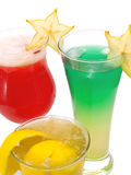 Cocktailsinzameling - Starfruit-Cocktail, Vreemde Hemel en Sidecar Stock Fotografie