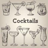 Cocktailweinlesesammlung für Restaurantdesign stock abbildung