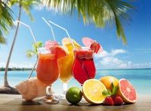 Cocktaisl and tropical fruit Stock Image