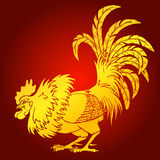 Cocky rooster gold on red background Royalty Free Stock Images