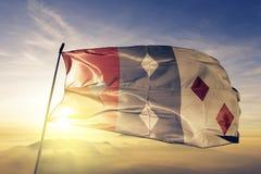 Cocle Province of Panama flag textile cloth fabric waving on the top sunrise mist fog. Beautiful stock illustration