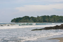 Waves breaking in Cocles Beach, Costa Rica Royalty Free Stock Image