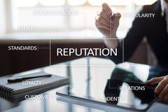 Cocnept d'affaires de réputation et de relations de client sur l'écran virtuel photos stock