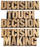 Cocnept de décision dans le type en bois Photos libres de droits