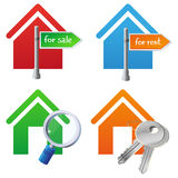 Cocnept Immobilien des Vektors - Hausikonen lizenzfreie abbildung