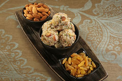 Cocnut ladoo. Indian sweets dryfruit and cocnut ladoo Royalty Free Stock Photography