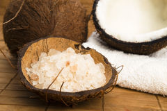 Coco bath. coconut with salt royalty free stock images