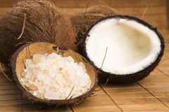 Coco bath. coconut with sea salt Stock Images