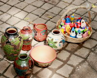 Coco beach Colorfull clay pottery, Guanacaste Costa Rica Royalty Free Stock Image
