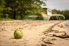 Coco bebendo na praia branca da areia, Palawan, as Filipinas Fotos de Stock