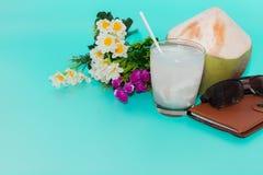 coco com palha bebendo, caderno e óculos de sol no CCB azul foto de stock