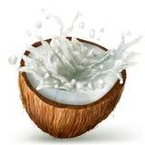 Coco con el chapoteo de la leche stock de ilustración