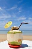 Coco con la paja de beber en el mar Fotos de archivo