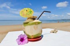 Coco con la paja de beber en el mar Imagenes de archivo