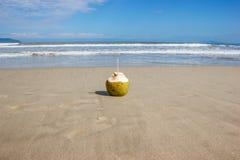 Coco con una paja en la arena en la playa Foto de archivo libre de regalías