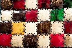Coco do mosaico da textura Perto, a decora??o ? feita de materiais naturais do eco Textura da casca da fibra da palmeira com cord imagem de stock