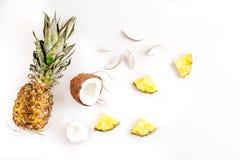 Coco e abacaxi cortados no modelo branco da opinião superior do fundo do projeto exótico do fruto do verão Fotografia de Stock