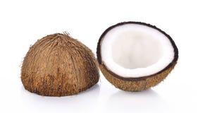 Coco em um fundo branco Imagens de Stock
