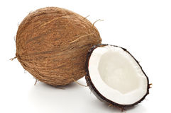 Coco en blanco Imágenes de archivo libres de regalías