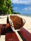 Coco en una playa tropical Imagenes de archivo
