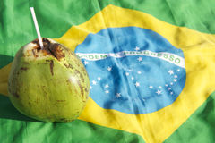 Coco Gelado Drinking Coconut Brazilian Flag Royalty Free Stock Images