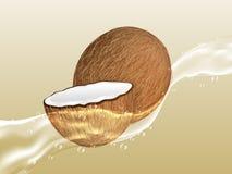 Coco jugoso delicioso en el espray del jugo stock de ilustración