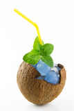 Coco llenado de mojito con hielo Foto de archivo