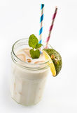 Coco loco smoothie with lime Stock Photo