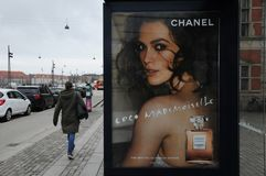 Coco Mademoiselle channel parfum. Bilboad  with Cocao Mademoiselle channel paris The new eau de parfum intense on public bus stops and public places Stock Photography