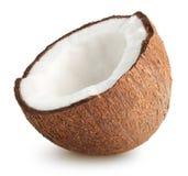 coco Mitad del coco en blanco, con la trayectoria de recortes foto de archivo