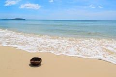 Coco na praia Imagens de Stock Royalty Free