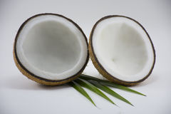 Coco no fundo branco para o cozimento ou a matéria prima Fotografia de Stock Royalty Free