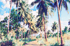 Coco palm tree alley with greenery. Tropical nature digital painting. Stock Photos