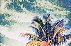 Coco palm tree on sky digital illustration in painting style. Tropical vacation banner template with text place. Summer vacation on exotic island. Faded vector illustration